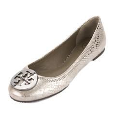 Tory Burch Silver Pewter Metallic Cobra Print Leather Reva Ballet Flat, Size 38.5 (New With Tags)