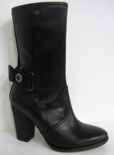 Ladies G Star Raw black leather ankle boot SQUADRON