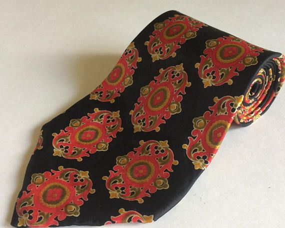 Vintage Pierre Cardin Bold Disco Era Wide Necktie Red and Gold