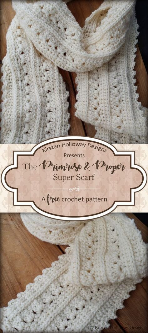 The Primrose and Proper Super Scarf is free crochet pattern that is lacy and easy to make! Women and teens of all ages are sure to love this pretty accessory with a Victorian or Shabby Chic feel.