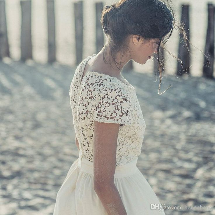 Newest White Lace A Line Wedding Dress Tea Length Wedding Dresses Cap Short Sleeve Lace Dress 2016 Bride Wedding Gown Jewel New Wedding Dresses Panina Wedding Dresses From Hebecheng, $125.63| Dhgate.Com