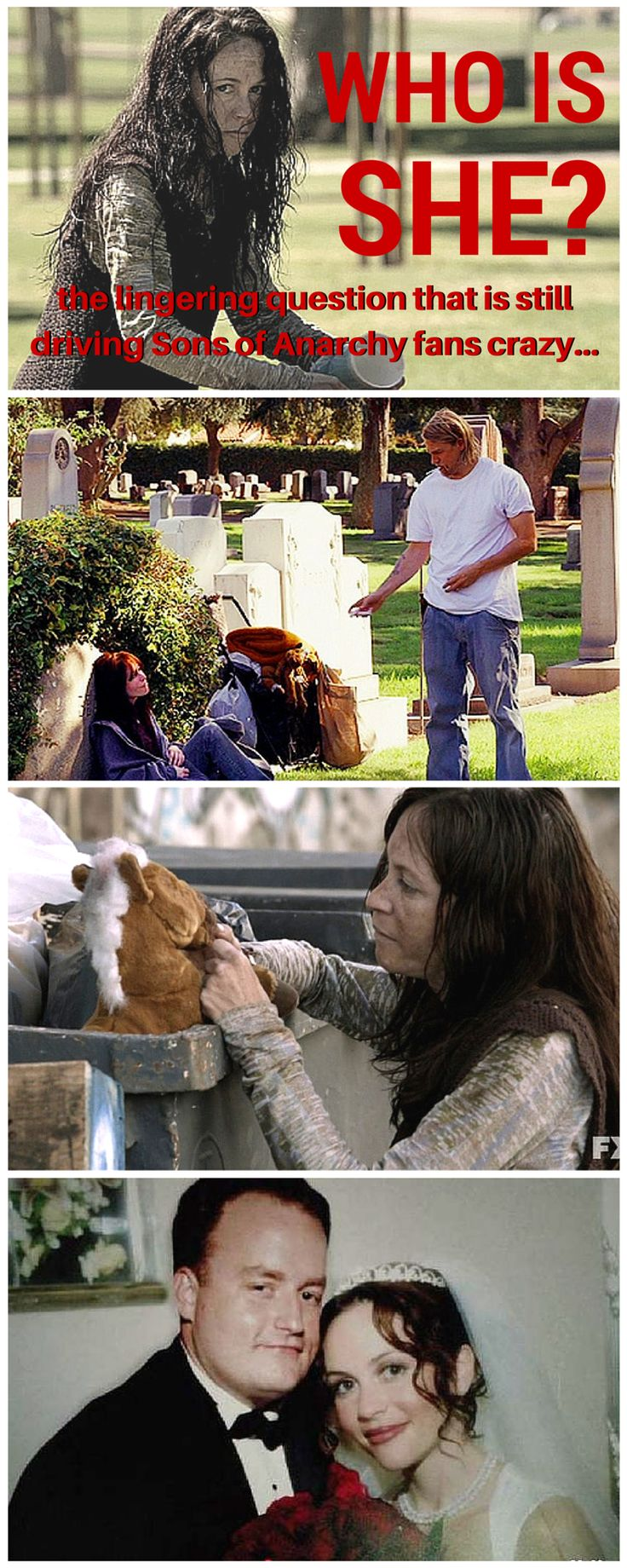 Who is the homeless lady in Sons of Anarchy? It's the lingering question that is still driving Sons of Anarchy fans crazy! Check out our answer: http://www.soafanatic.com/2015/09/do-you-remember-soas-resident-homeless-lady/?ref=pinterest-homelesslady