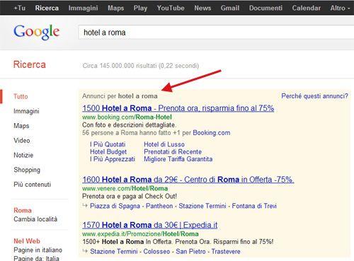 """Google aggiunge la scritta """"Annunci per [parola chiave cercata]"""" prima degli Annunci Adwords in SERP"""