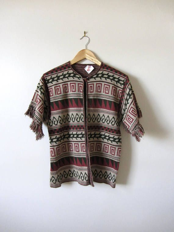 70s Vintage Space Dyed Fanfare Aztec Cardigan