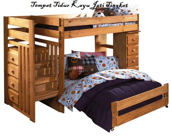 Tempat Tidur Kayu Jati Tingkat