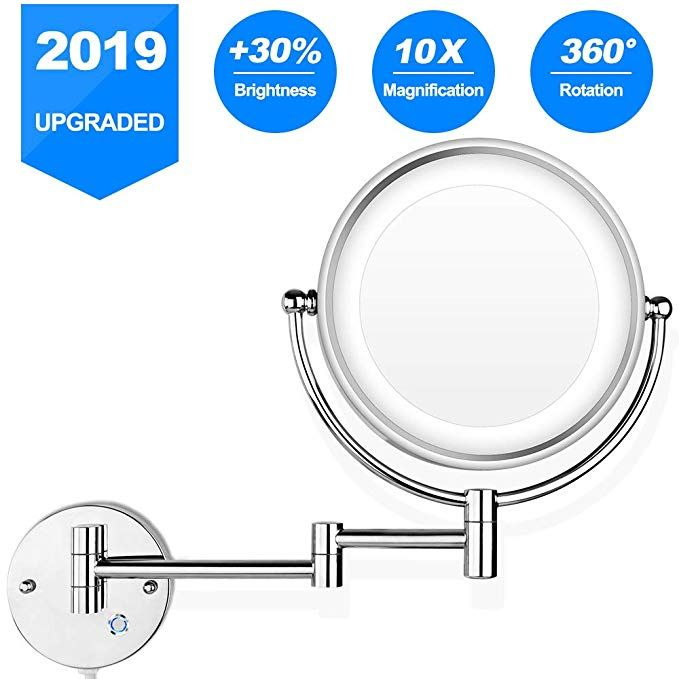 Pansonite Led Wall Mount Makeup Mirror With 10x Magnification 8 5 Double Sided 360 Swivel Vanity Mirror With 13 7 Extension And Adjustable Light Wall Mounted Makeup Mirror Shaving Mirror Wall Mounted Mirror
