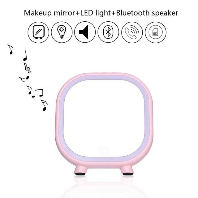 Wireless Speaker Vanity Makeup Mirror With LED Lights And Bluetooth Speaker
