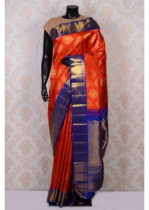 Orange beautiful kanchipuram silk saree with royal blue pallu-SR17198
