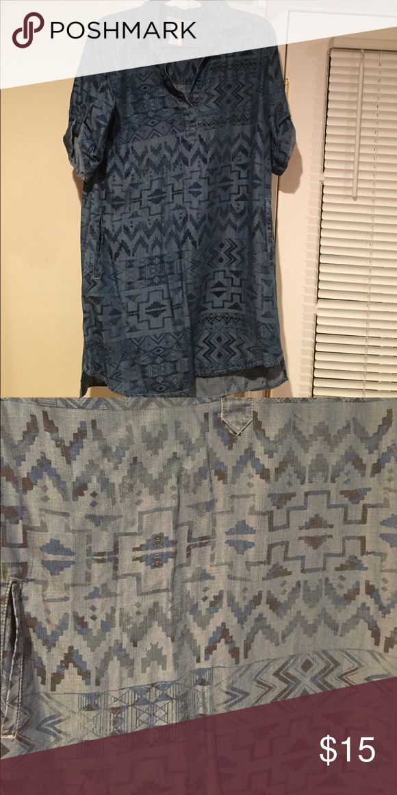"Denim philosophy dress Denim philosophy dress with tribal print. This dress does have pockets. Never worn. Not really a ""mini"" dress but no other description fits Philosophy Dresses Mini"