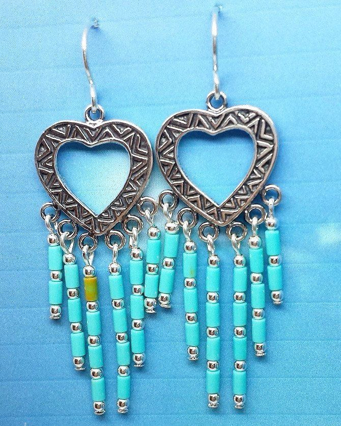 Navajo earring with Multi dangle Turquoise and Silver beads.