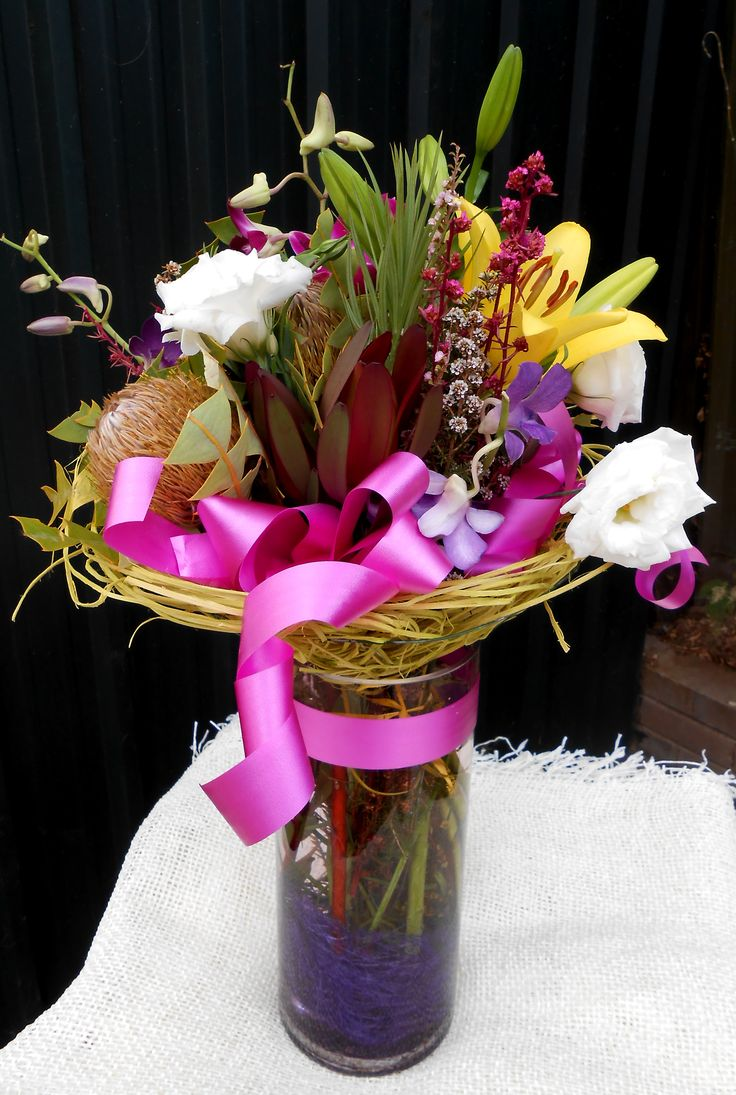 Vase of country fresh flowers with added native blooms for any occasion. Order online. Adelaide deliveries