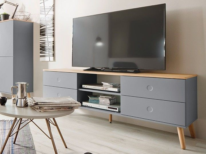 joan tv m bel wohnzimmer lowboard 162 eiche grau. Black Bedroom Furniture Sets. Home Design Ideas