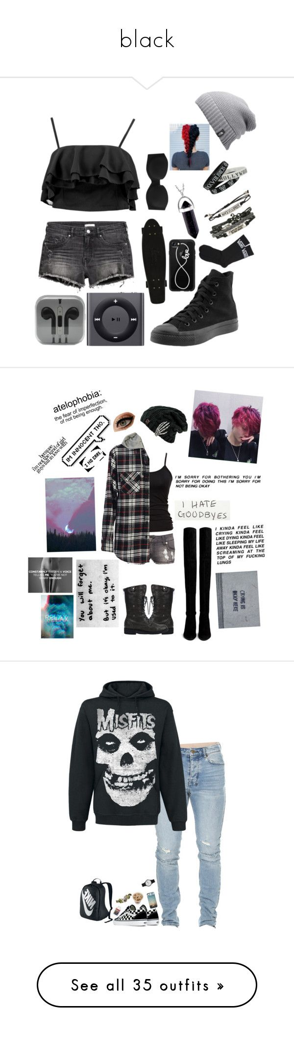 """black"" by squarely-asleep ❤ liked on Polyvore featuring H&M, Boohoo, Calvin Klein Underwear, The North Face, Converse, Apple, Casetify, Hot Topic, Vans and French Connection"