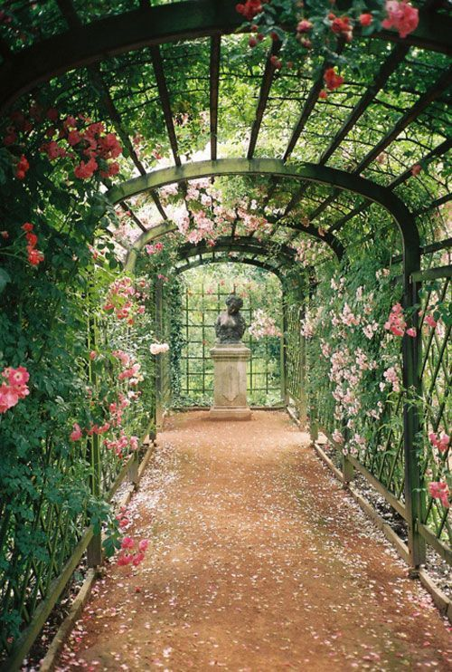 18 Secret Ideas To Plan Your Hidden Garden! The lovely arbor, climbing roses, lattice, walkway is so enchanting.