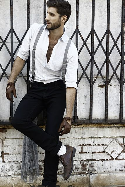 Cool looking way to wear suspenders. You have to have the right build to pull this off. Not all guys look great in suspenders.