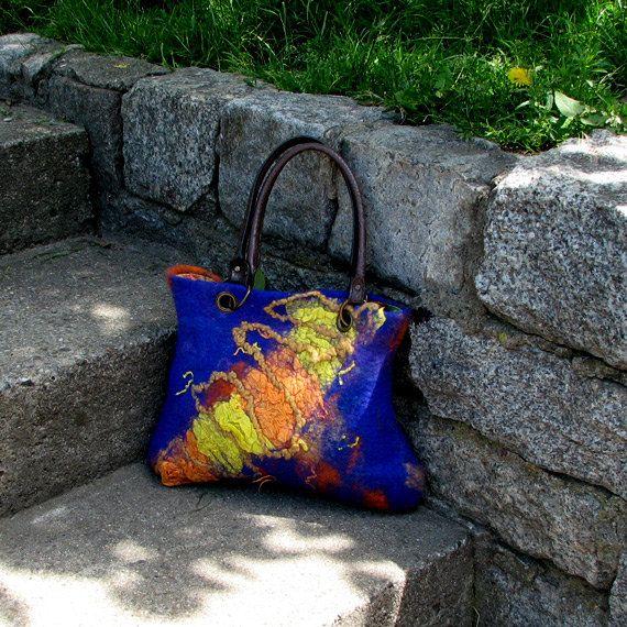 Felted handbag felted shoulder bag  felt handbag  felt by albado, $120.00 http://www.etsy.com/listing/102740272/felted-handbag-felted-shoulder-bag-felt?ref=tre-2720855229-4