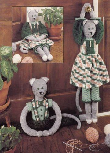 Draft Dolls, Home Decor Crochet Pattern Booklet LA 921 Boy Girl Kitty & More