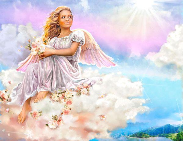 Divine angel sitting on clouds. By Victoria Tseluyko art
