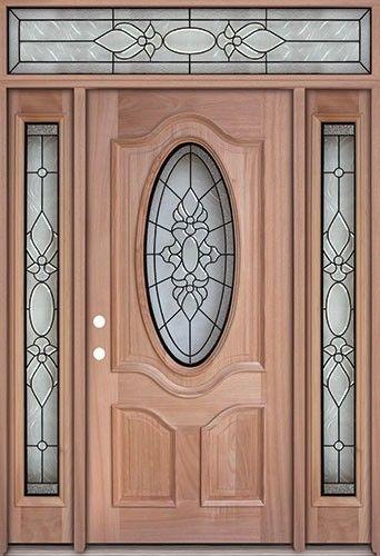 Discount Oval Mahogany Prehung Wood Door Unit With Transom