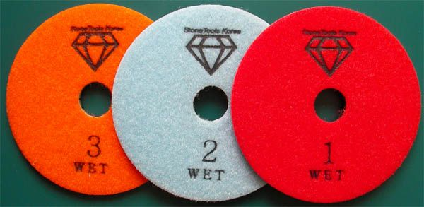 3 Step Wet Polishing Pads made by RM Tech Korea (StoneTools Korea®) provides the highest quality; world top selling more than 500 sets monthly RM Tech Korea (StoneTools Korea®) email: sales@stonetools.co.kr  www.stonetools.co.kr http://stonetools.gobizkorea.com