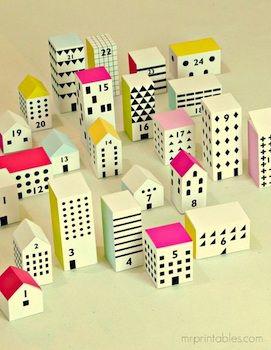 Mr Printables printable advent calendar little town and houses