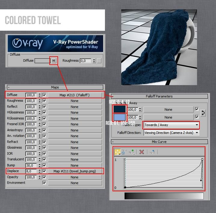 Vray Towel Colored 3ds Max Material