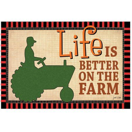 Colorful Garden Life is Better on the Farm Tractor Door Mat, Multicolor