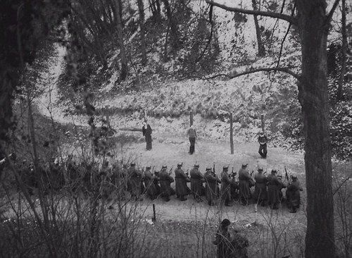 One of the few known photographs of French partisans (often referred to as Maquis) being executed by soldiers of the Waffen-SS.