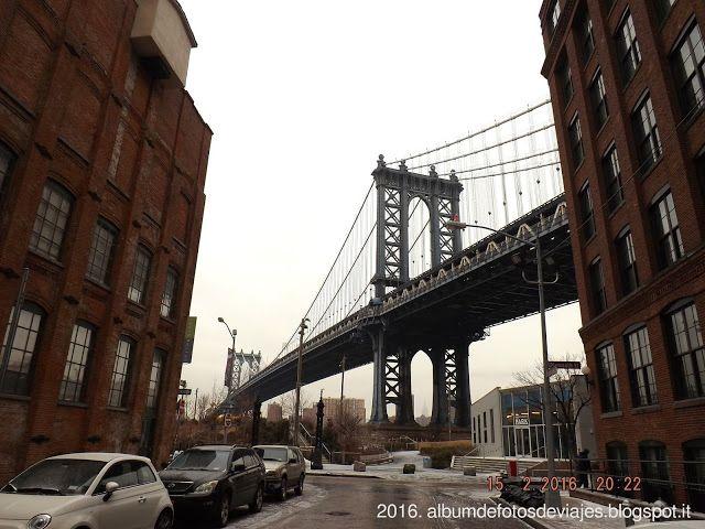 Nueva York: 15.02.16: Desde Seaport y el Civic Center, pasando por Lower Manhattan, cruzando el puente de Brooklyn: puente de Manhattan desde Dumbo