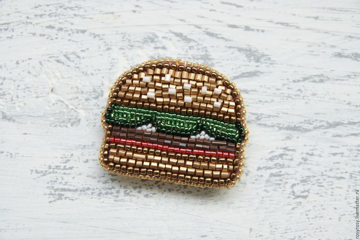 Why not? Beaded brooch Hamburger | Купить Брошь из бисера вышитая брошь бисерная брошь Гамбургер - вышитая брошь, брошь бургер