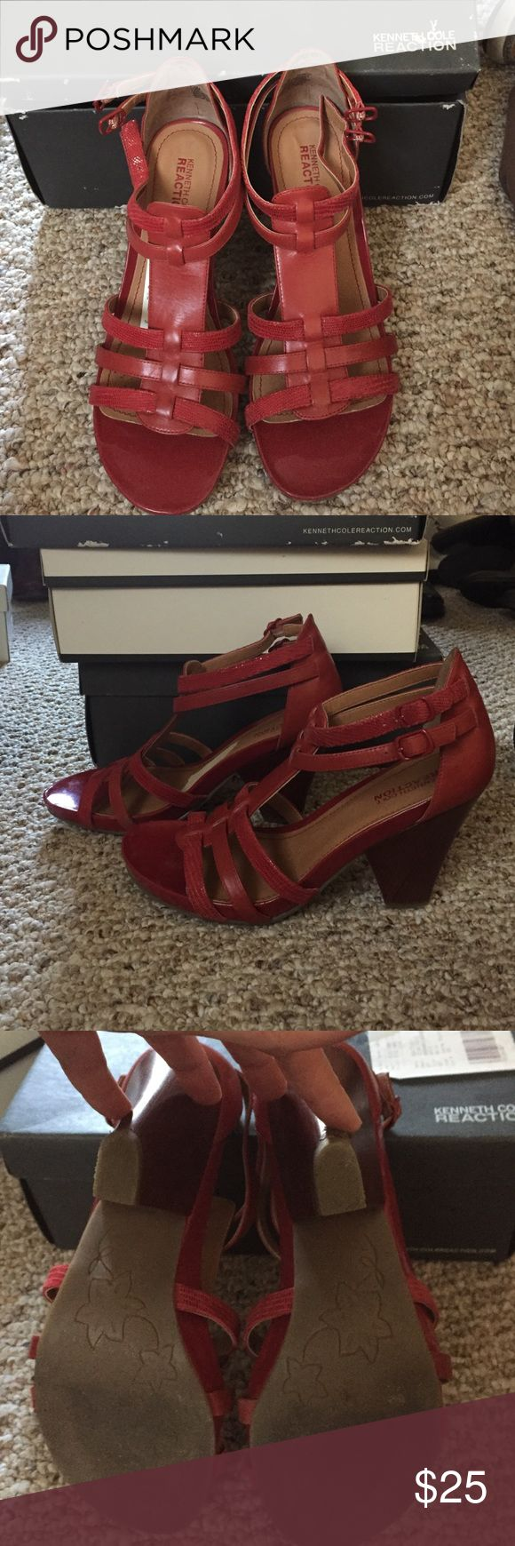 Kenneth Cole Reaction Red Heeled Sandals Only worn a few times, comfortable and will take you through every season. Kenneth Cole Reaction Shoes Sandals