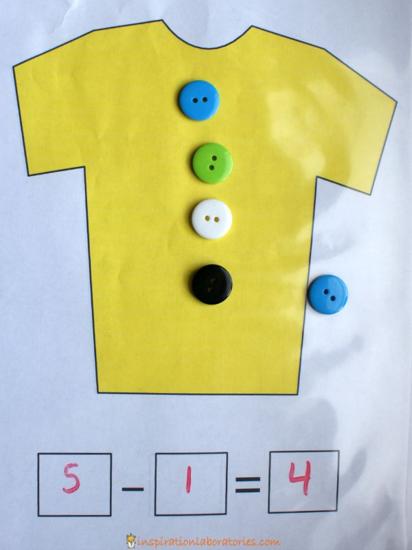button subtraction with Pete the Cat