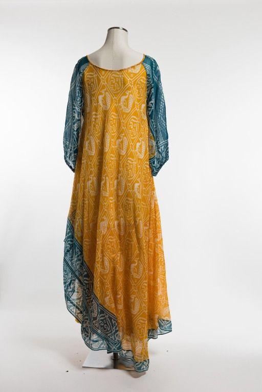 1970's Troubadour London Ethnic Print Dress 4
