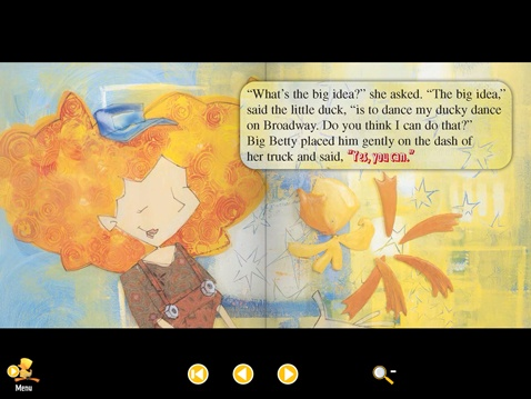 "An adventurous duck meets ""Big Betty"" on your iPad! Illustration by Fil & Julie."