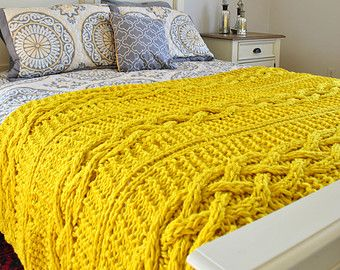 Chunky Cable Knit Throw Blanket in Yellow Cabled Wool Hand Knitted Blanket- made to order throw, full/queen and king size blankets