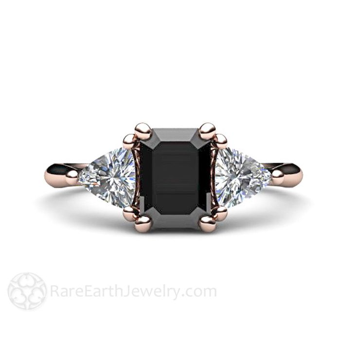 Black Diamond Engagement Ring Vintage Black Diamond 3 Stone Ring 14K or 18K Gold with Trillion Diamonds by RareEarth on Etsy https://www.etsy.com/listing/166556395/black-diamond-engagement-ring-vintage