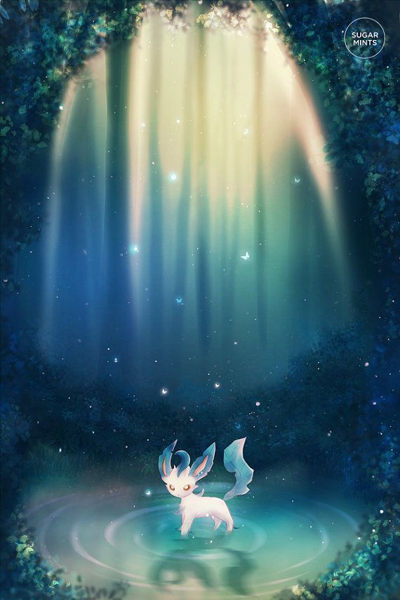 Pokemon Leafeon Poster: Spirit of Life, Eeveelutions, Pokemon Poster, Anime Poster, Art Print, Pokem