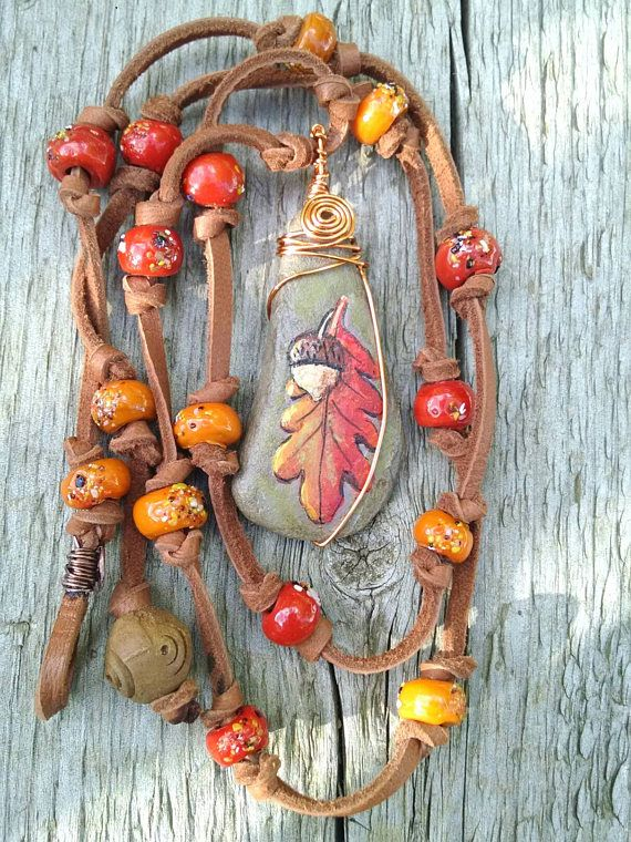 Check out this item in my Etsy shop https://www.etsy.com/listing/525545074/leaf-necklace-orange-acorn-necklace