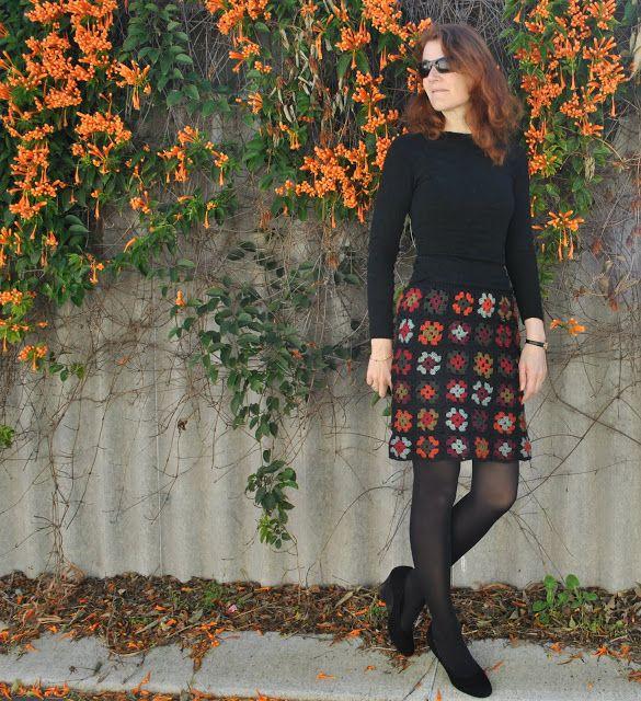 Nice #crochet granny square skirt pattern