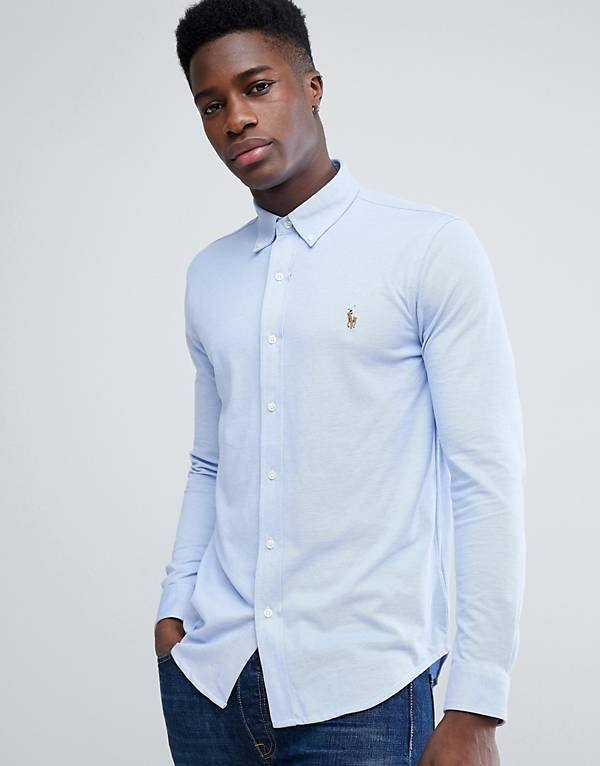 In Lauren Multi Slim Polo Blue Fit Shirt Stretch Ralph Pique Player 80XOkNnwP
