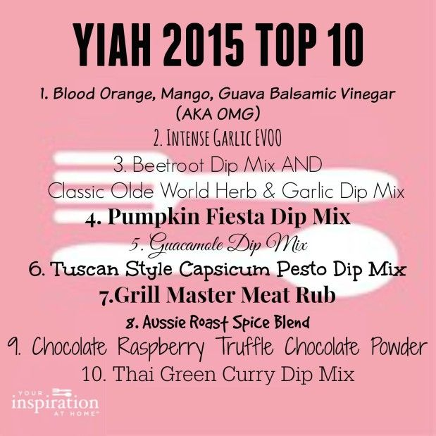 Yiah 2015 Top 10 products - try them for yourself..  Visit: http://facebook.com/kirstynormanyiah to view our specials or to become a consultant/ personal shopper visit http://kirstynorman.yourinspirationathome.com.au