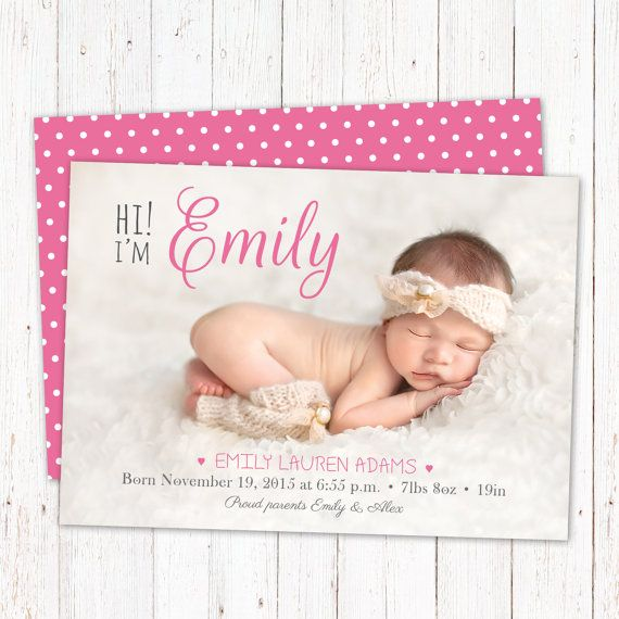 Personalized birth announcement card. Baby girl by PenguinGraphics