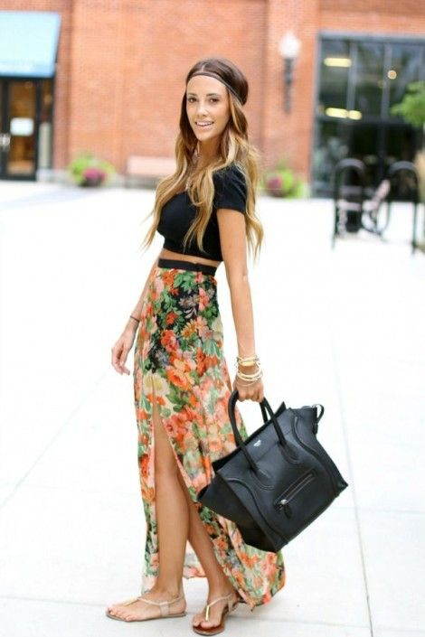 Adorable summer outfit with Aztec printed maxi skirt and black cropped top, hippie style headband