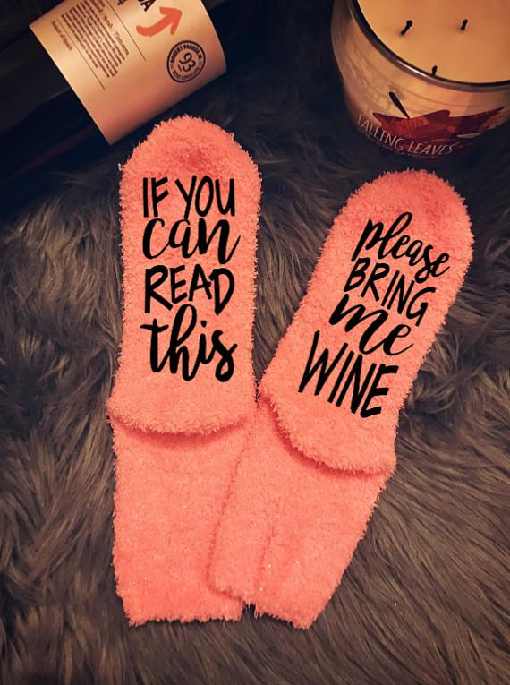 WINE SOCKS - If you can read this, please bring me WINE socks - gift for her - bottoms up socks - if you can read this - pink wine socks   10 options: #1 - Peach #2 - Red #3 - Light Blue #4 - Green & Yellow #5 - Red Stripe #6 - Gray (with pink glitter - please choose glitter