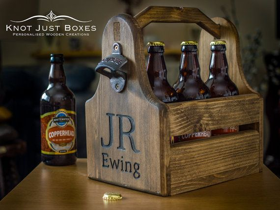 Personalised Wooden Beer Carrier / Bottle opener / Gifts for Him / Fathers Day / Best Man