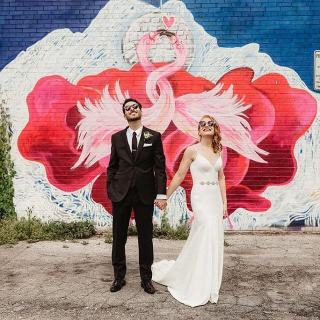 toronto wedding   pink flamingos 🎈