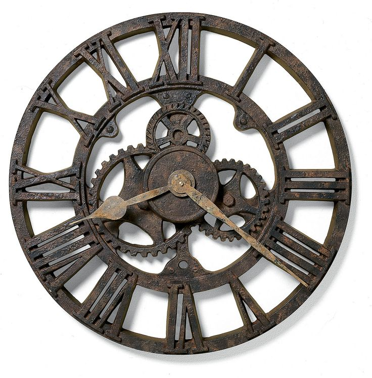 """The character of a rusted, antique timepiece is evident in this 21"""" molded polyresin wall clock. Aged hour and minute hands add to the appeal of the authentic look. Quartz, battery operated movement. 2.25"""" Depth x 21"""" Diameter Weight: 12.87 lbs Manufacturers warranty from Howard Miller"""