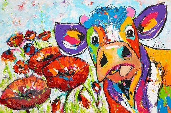 Koe met klaprozen