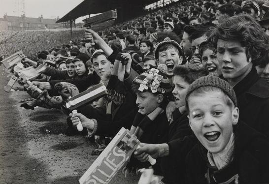 Blues fans at Birmingham City vs Aston Villa derby match in 1962