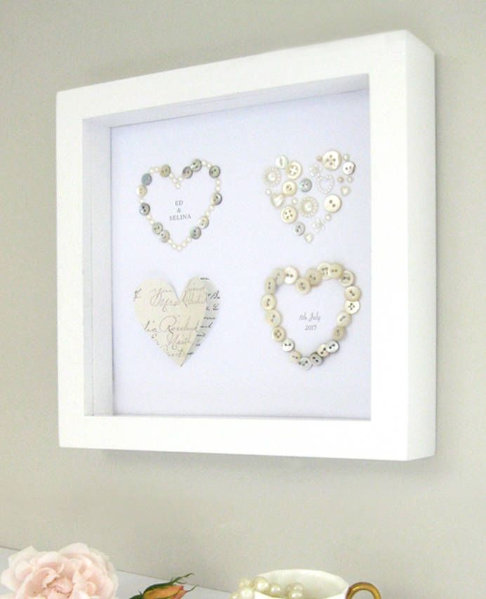 Personalised Four Wedding Hearts Artwork